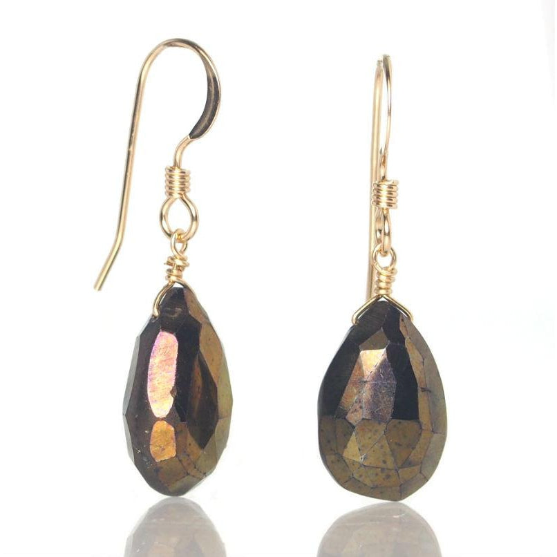 Coated Pyrite Earrings with Gold Filled French Ear Wires