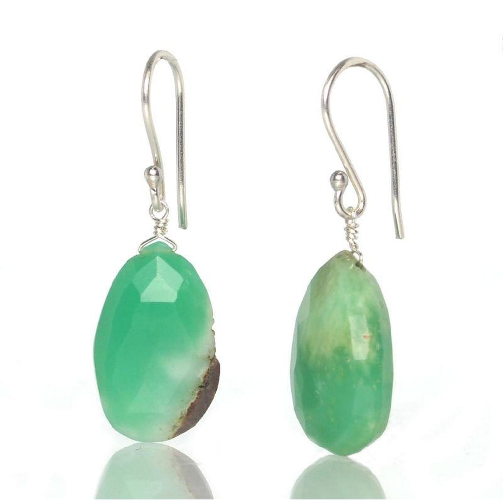 Chrysoprase Earrings with Sterling Silver French Ear Wires