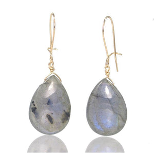 Labradorite Earrings with Gold Filled Kidney Ear Wires