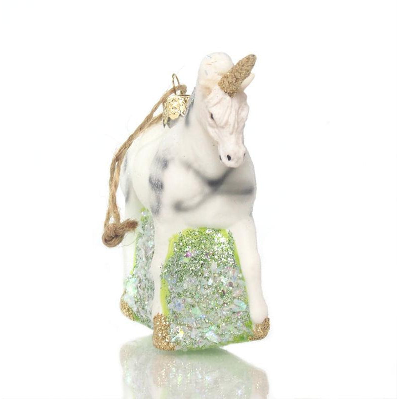 Glitter Unicorn Glass Ornament