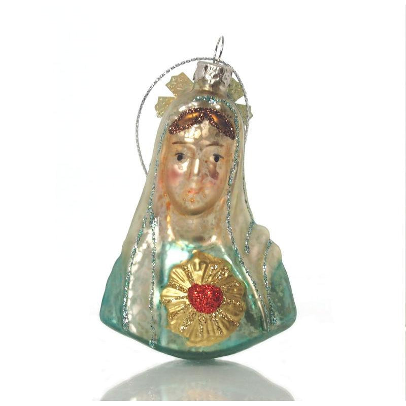 Mary Bust Glass Ornament