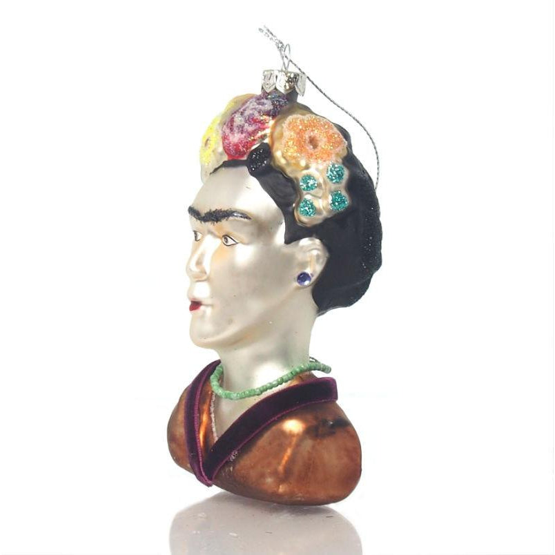 Frida Bust Glass Ornament, Large