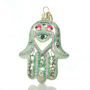 Hamsa Glass Ornament, Green