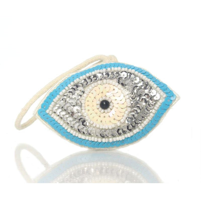 Beaded Sequin Eye Ornament, A