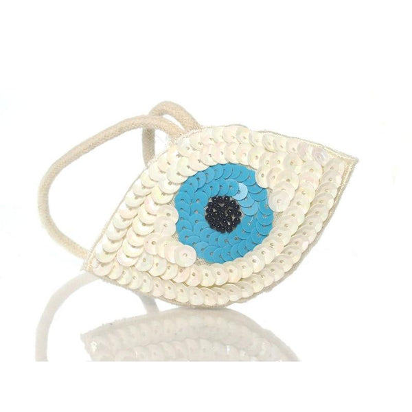 Beaded Sequin Eye Ornament, C
