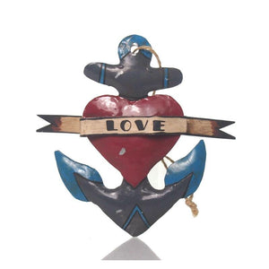 Tin Love Anchor Ornament