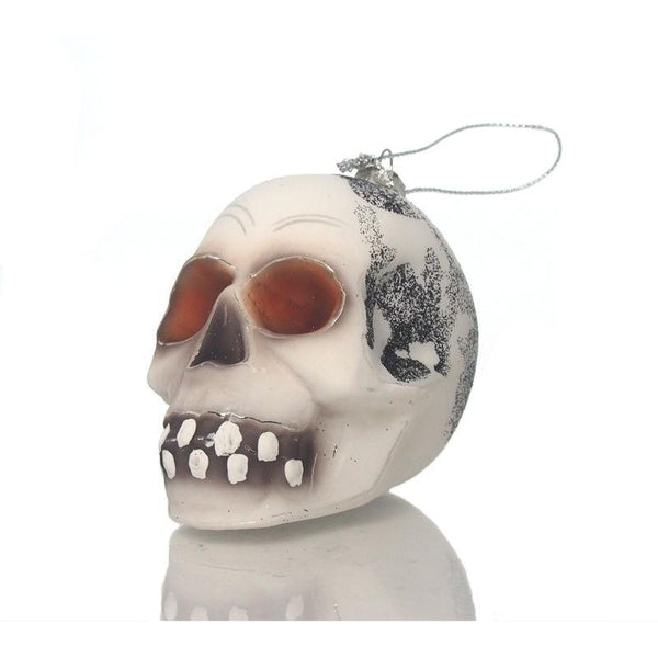 White Glass Skull Ornament