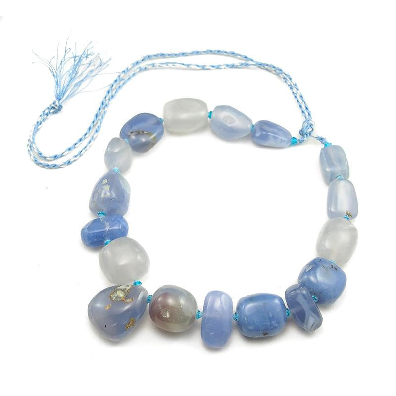 Natural Blue Lace Agate/Chalcedony Bead Strand
