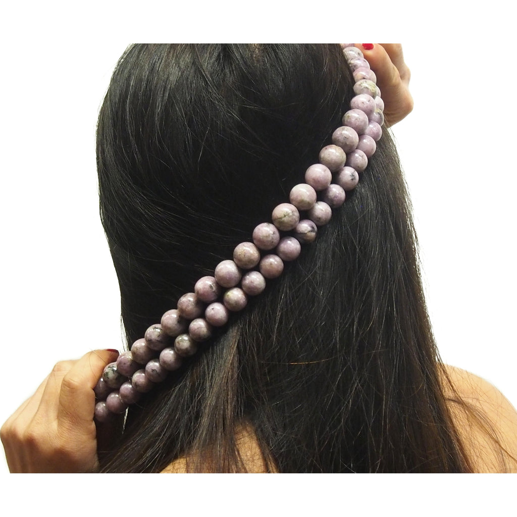 Lilac Lepidolite Smooth Rounds 14mm, 16mm Strand