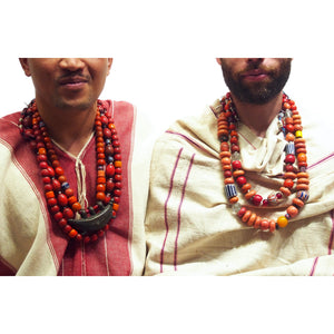 "Brotherly Love 2: Naga ""Coral Glass"" Hand Wound Heirloom Beads with ""Sherpa Coral"" Hand Wound Glass 19th Century Trade Beads from India and China"