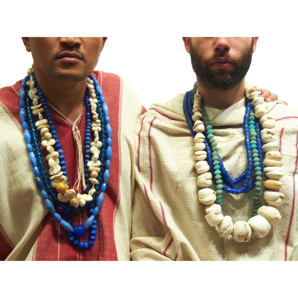 "Brotherly Love 13: 19th Century Mali Conus Shell Currency Necklaces with 19th Century Bohemian ""Vaseline"" Diamond Shape Glass and 19th Century Bohemian ""Russian Blues"" Faceted Lozenges with 19th Century ""Russian Blues"" Faceted Tubes"