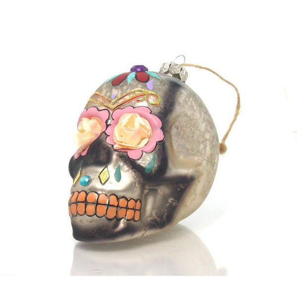 Day of the Dead Skull Flower/Eye Glass Ornament, B