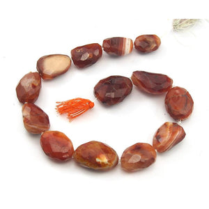 Carnelian Faceted Nugget Strand
