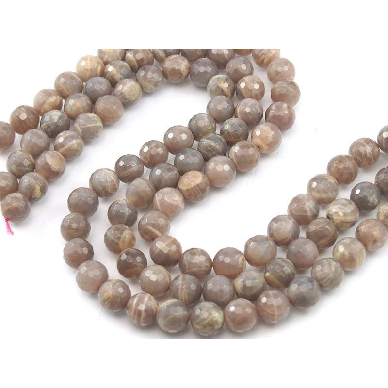 Peach Moonstone Faceted Rounds 12mm Strand