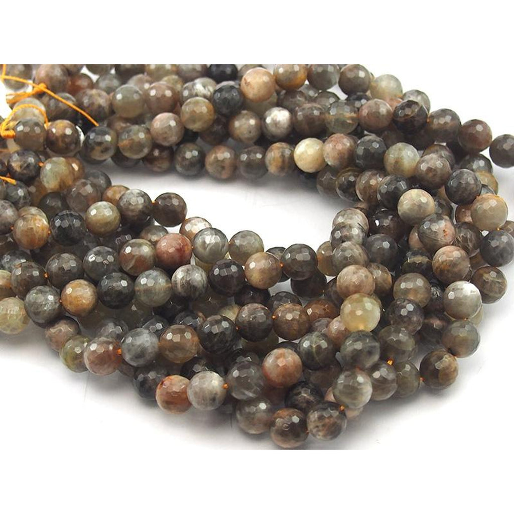 Moonstone Coffee Faceted Round 10mm Strand
