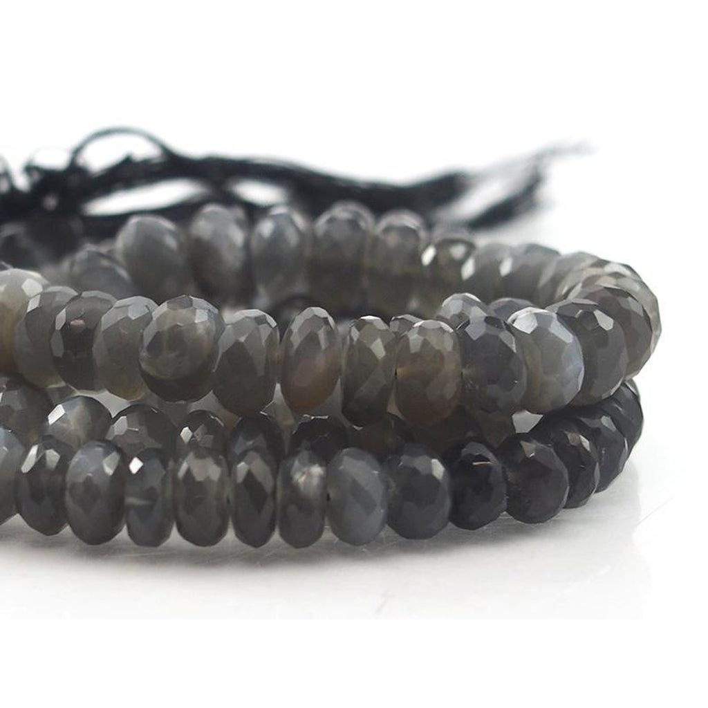 Moonstone Grey Faceted Rondelle Strands 7mm, 8mm, 9mm