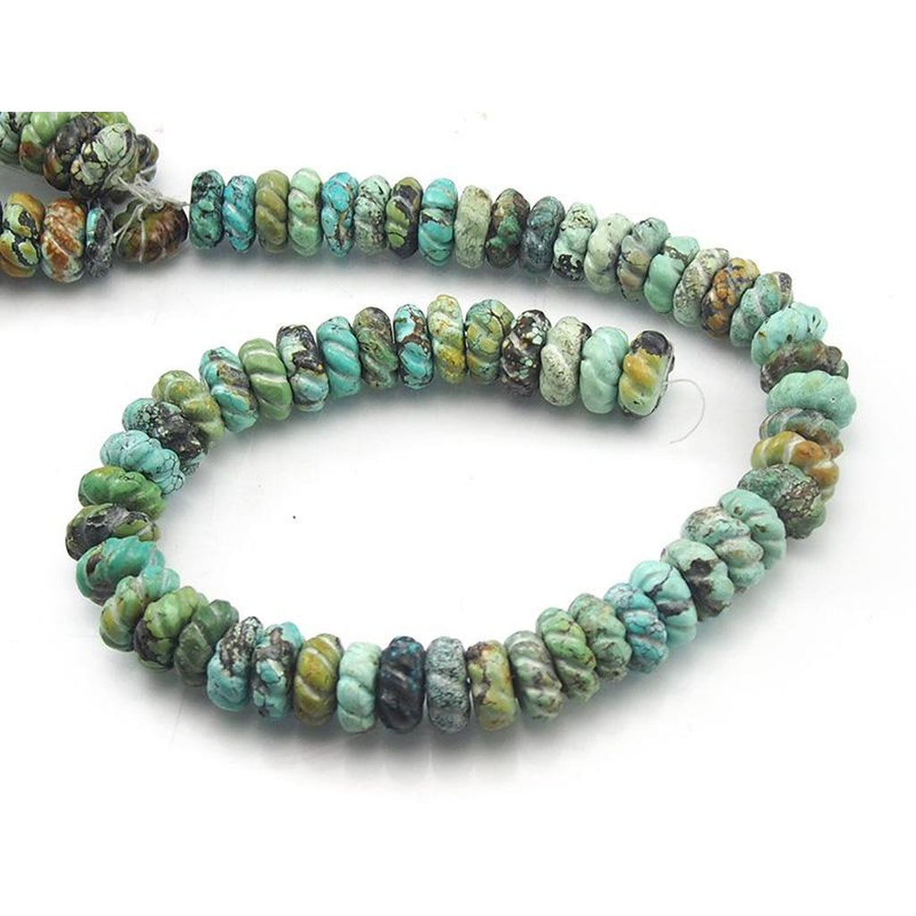 Turquoise Natural 15mm Carved Rondelle Melon Strand