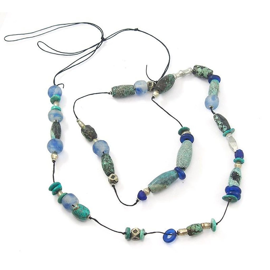 Turquoise with Heirloom Glass Bead Knotted on Linen Necklace