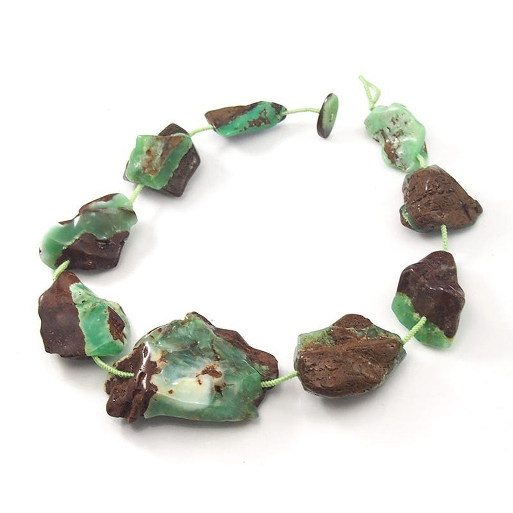 Chrysoprase Natural Smooth XL Nugget Necklace (B)