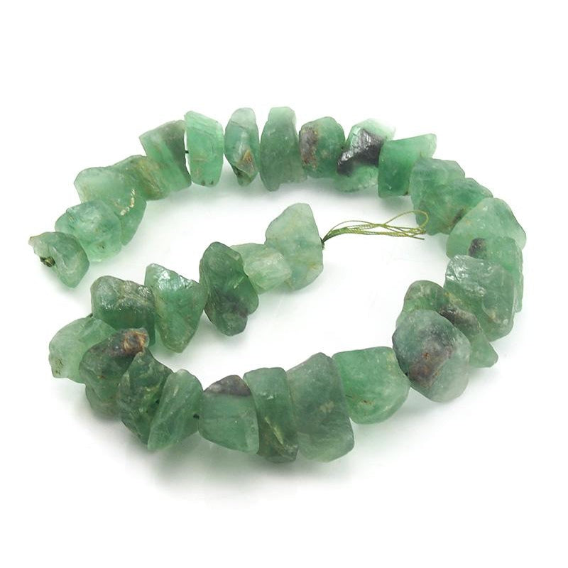 Green Fluorite Tumbled Nugget Strand (A)