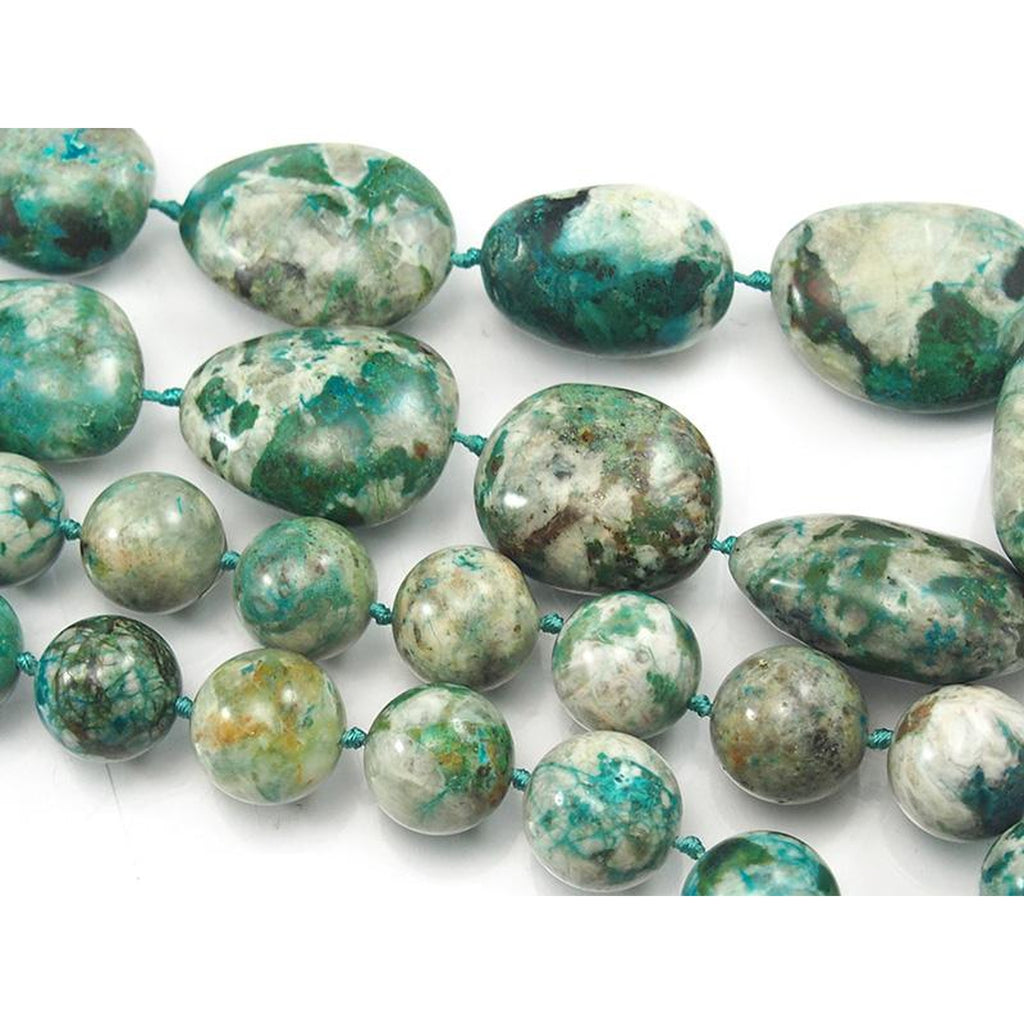 Chrysocolla Smooth Fine Round & Graduated Nugget Strand