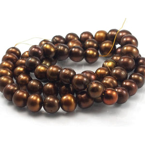 Fresh Water Bronze Pearl Smooth Round Strand