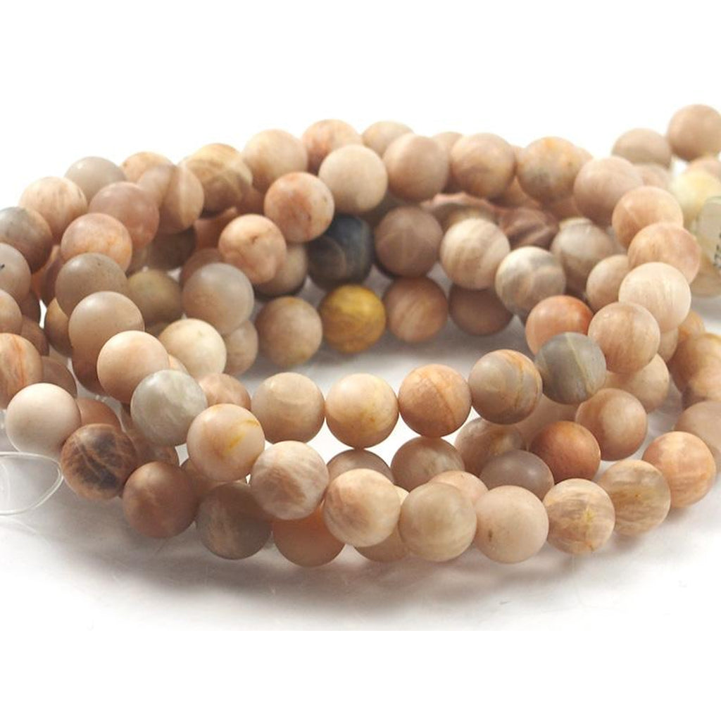 Peach Moonstone Matte Round 10mm Strand