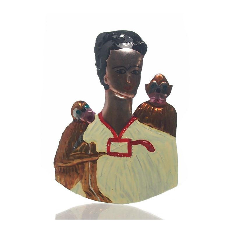 Frida Kahlo With Monkeys Tin Ornament, B