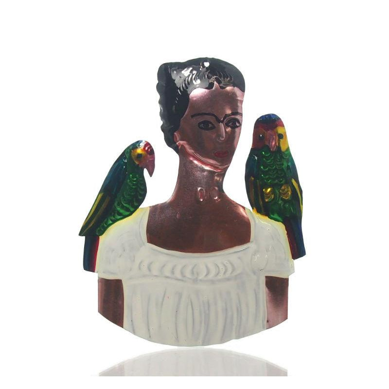 Frida Kahlo With Parrots Tin Ornament, A