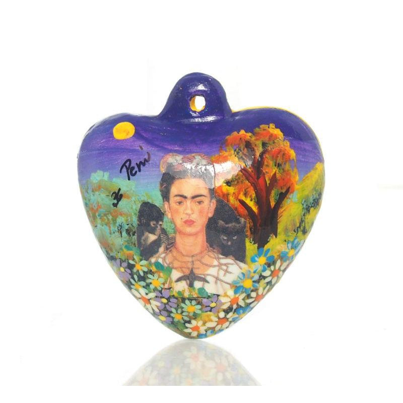 Painted Frida Kahlo Heart Ornament, A