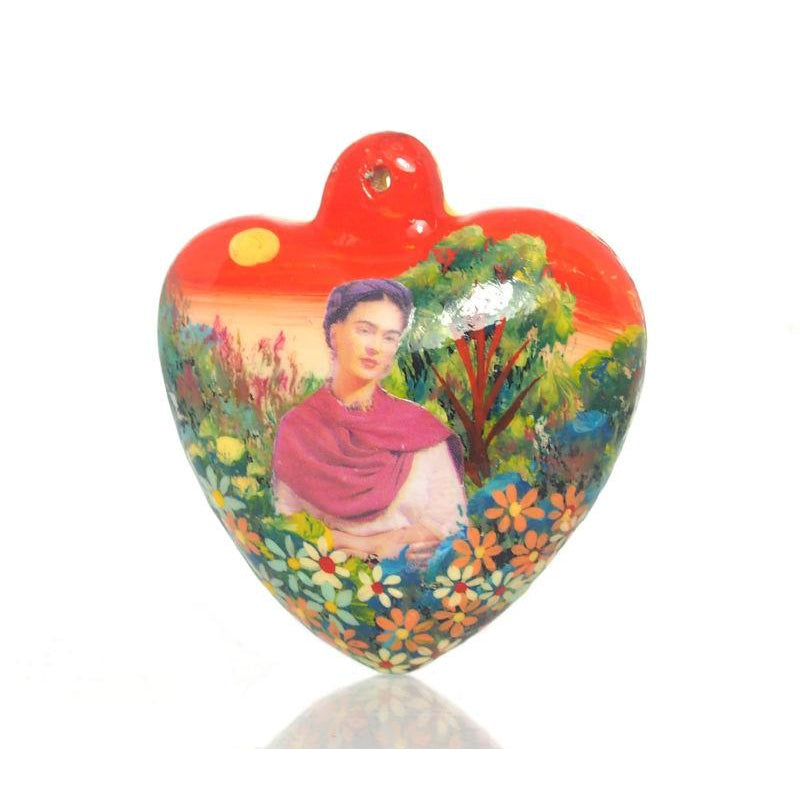 Painted Frida Kahlo Heart Ornament, B
