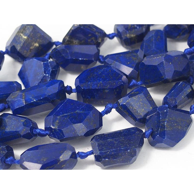 Graduated Lapis Faceted Nugget Strand , Small