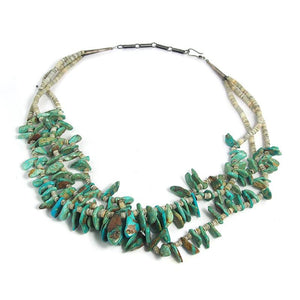 Native American Inspired Turquoise and Shell Three Strand Necklace