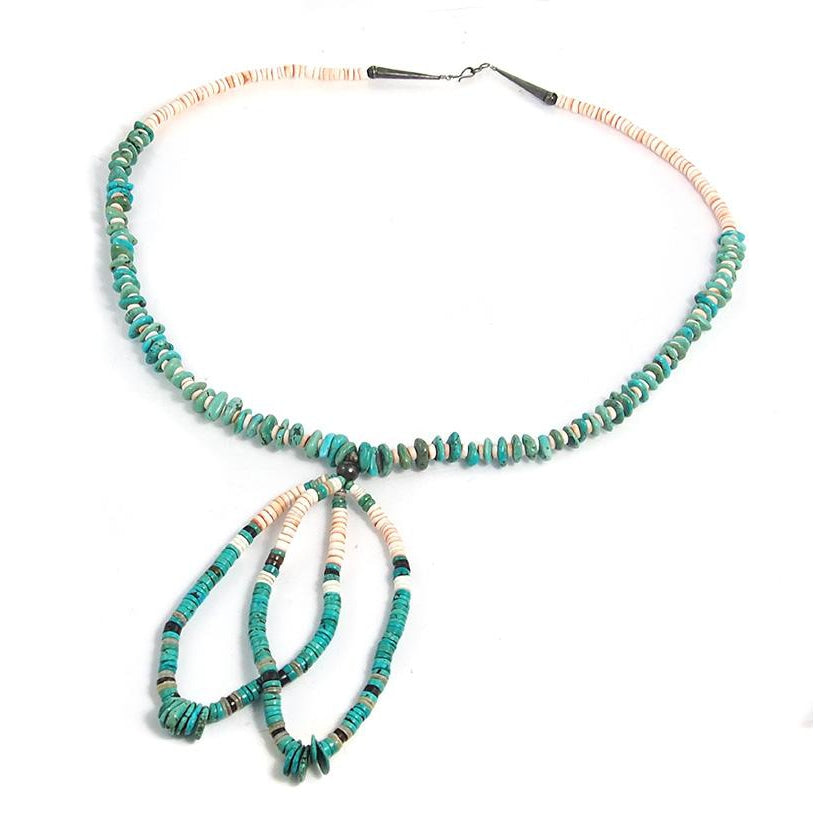 Native American Inspired Turquoise and Shell Necklace 1