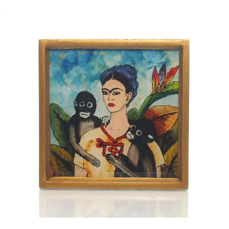 Frida Kahlo Painted Glass Coasters