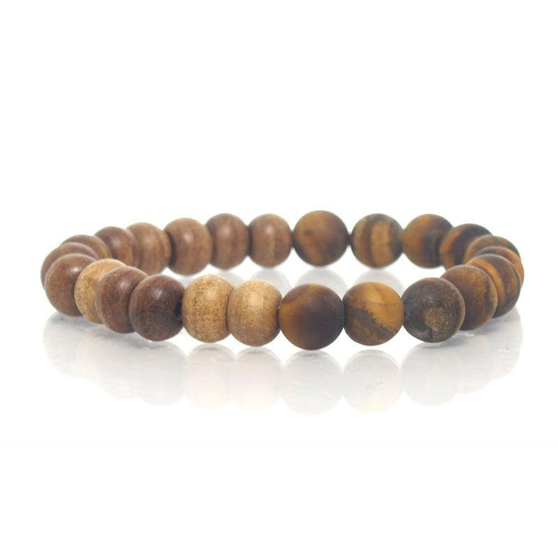 Tulsi Wood and Tiger's Eye Stretch Bracelet