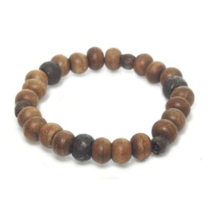 Tulsi Wood and Iron Bead Stretch Bracelet