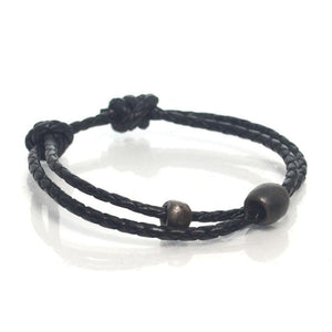 Leather Adjustable Bracelet with Iron Beads