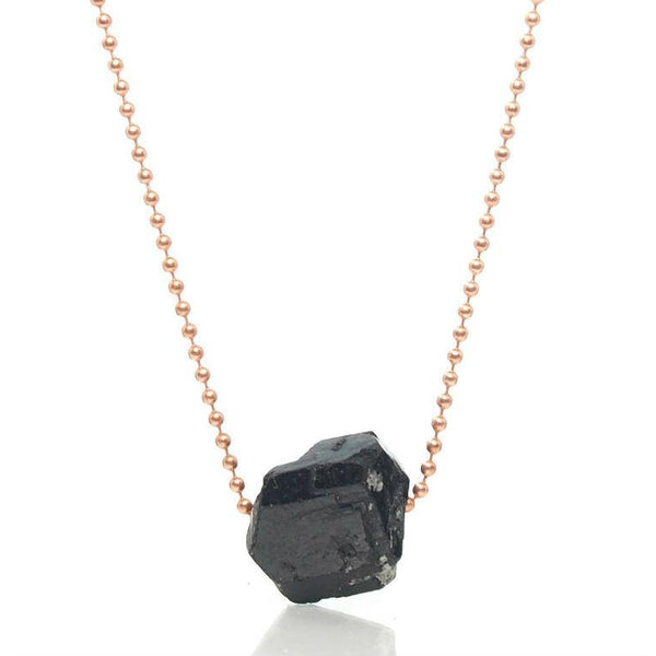 Black Tourmarine Chunk Ball Chain Necklace 1