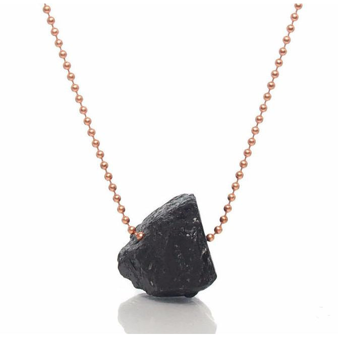 Black Tourmarine Chunk Ball Chain Necklace 2