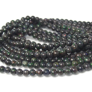 Black Opal Honduras Smooth Rounds 6mm Strand