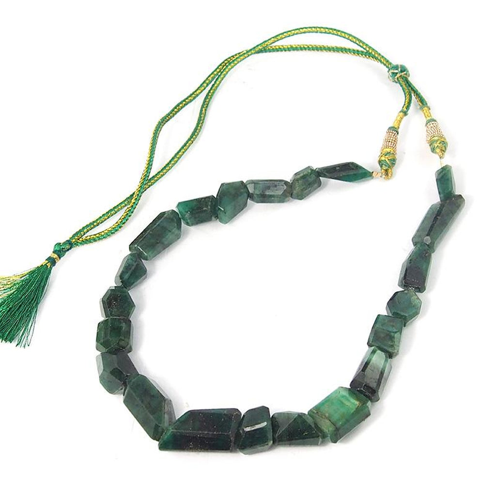 Emerald Faceted Graduated Chunk Strand