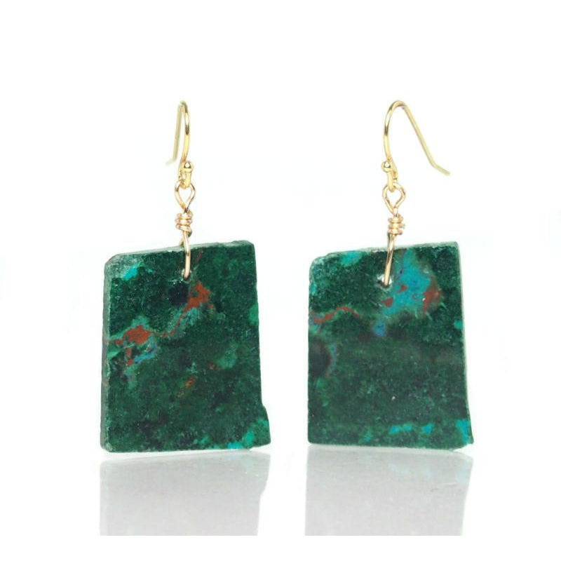 Malachite/Chrysocolla Earrings with Gold Filled French Ear Wires