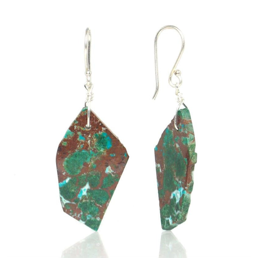 Malachite/Chrysocolla Earrings with Sterling Silver French Ear Wires