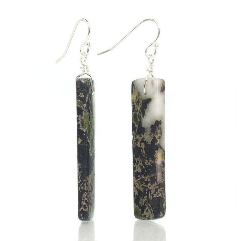 Cherry Blossom Jasper Earrings with Sterling Silver French Ear Wires