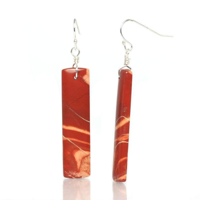 Red River Jasper Earrings with Sterling Silver French Ear Wires