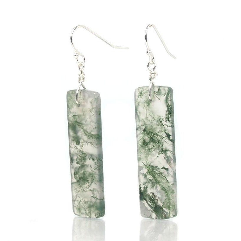 Green Tree Agate Earrings with Sterling Silver French Ear Wires