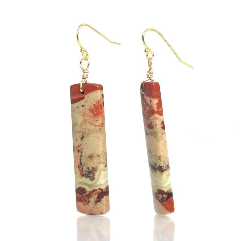 Red River Jasper Earrings with Gold Filled French Ear Wires