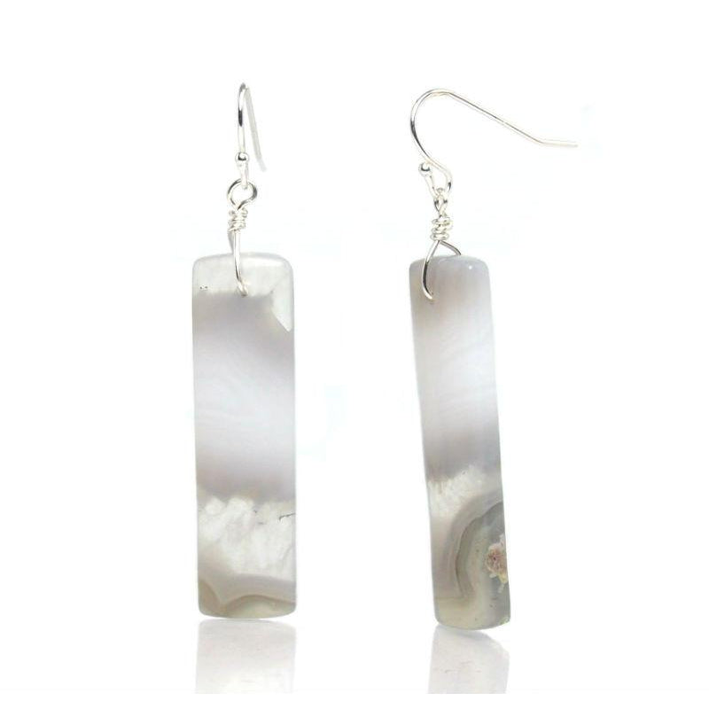 Botswana Agate Earrings with Sterling Silver French Ear Wires
