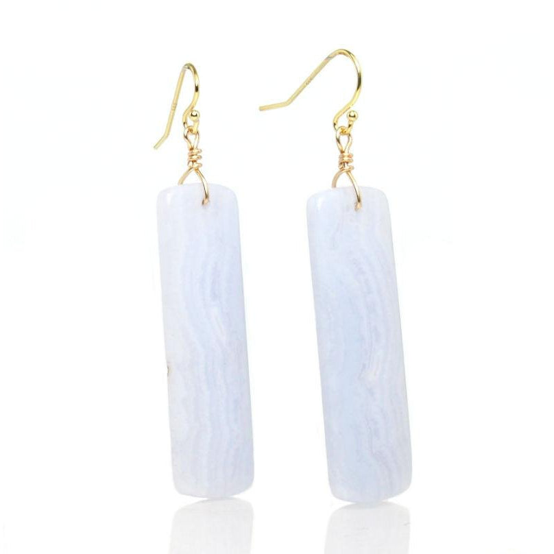 Blue Lace Agate Earrings with Gold Filled French Ear Wires